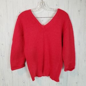Joiiz Red Angora Blend Sweater Double V Ne…
